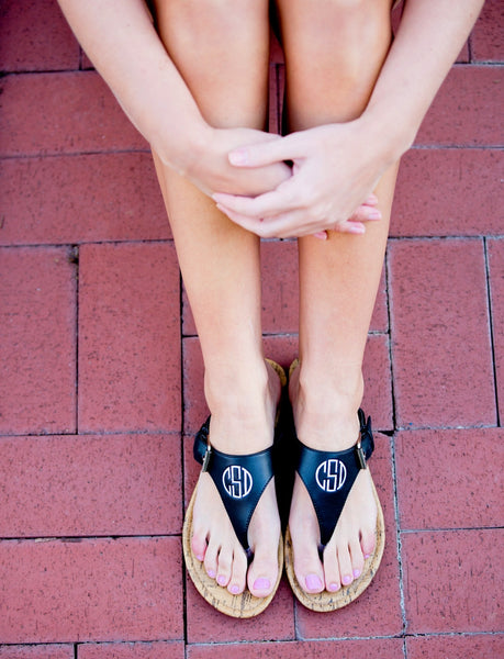 Personalized Monogrammed Sandals Brown or Black Strap - Gifts Happen Here - 19