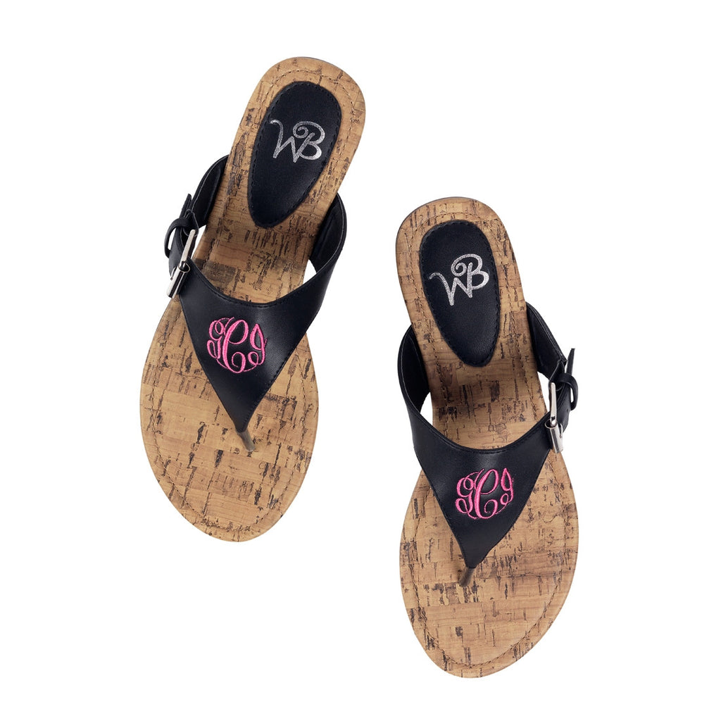 Personalized Monogrammed Sandals Black Strap - Gifts Happen Here - 3