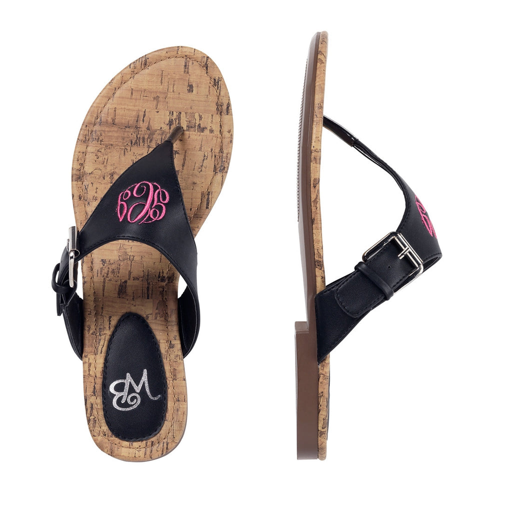 Personalized Monogrammed Sandals Black Strap - Gifts Happen Here - 4