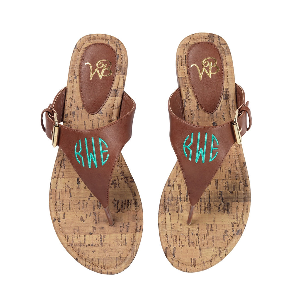 Personalized Monogrammed Sandals Brown Strap - Gifts Happen Here - 1