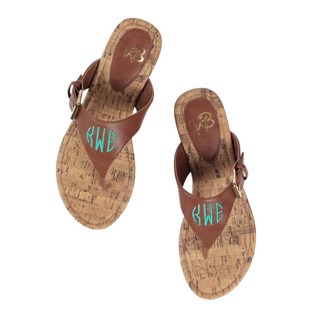 Personalized Monogrammed Sandals Brown Strap - Gifts Happen Here - 3