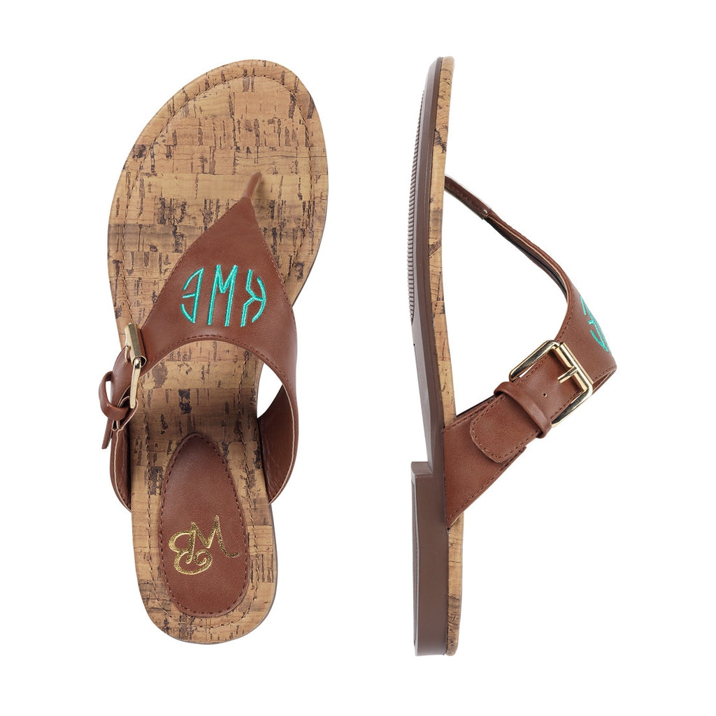 Personalized Monogrammed Sandals Brown Strap - Gifts Happen Here - 4