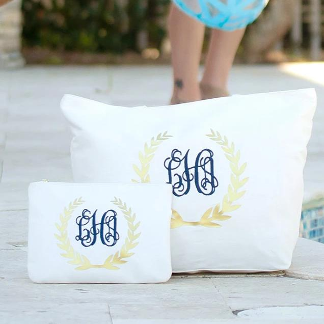 Monogrammed Gold Wreath Tote Bag & Zip Pouch