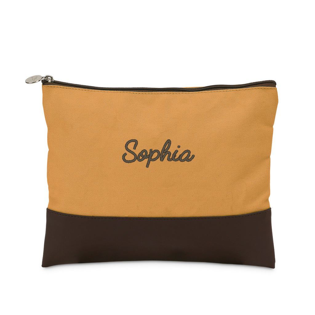 Personalized Accessory Pouch with Leather Like Trim Purple Mustard
