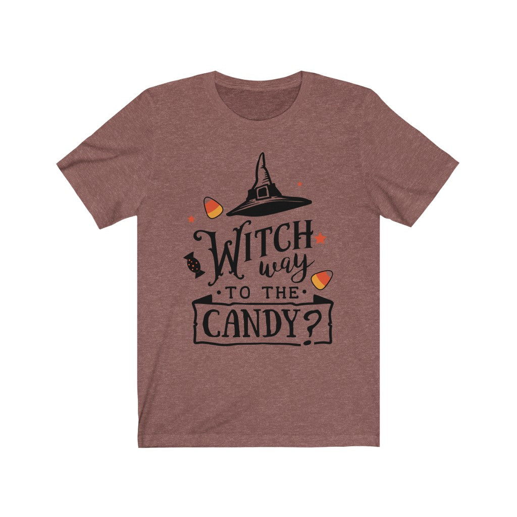 Witch Way to the Candy? Halloween T-Shirt - Short Sleeve Tee