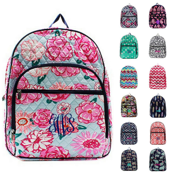 "18"" Personalized Quilted Backpack / Bookbag - Multiple Pattern Image"