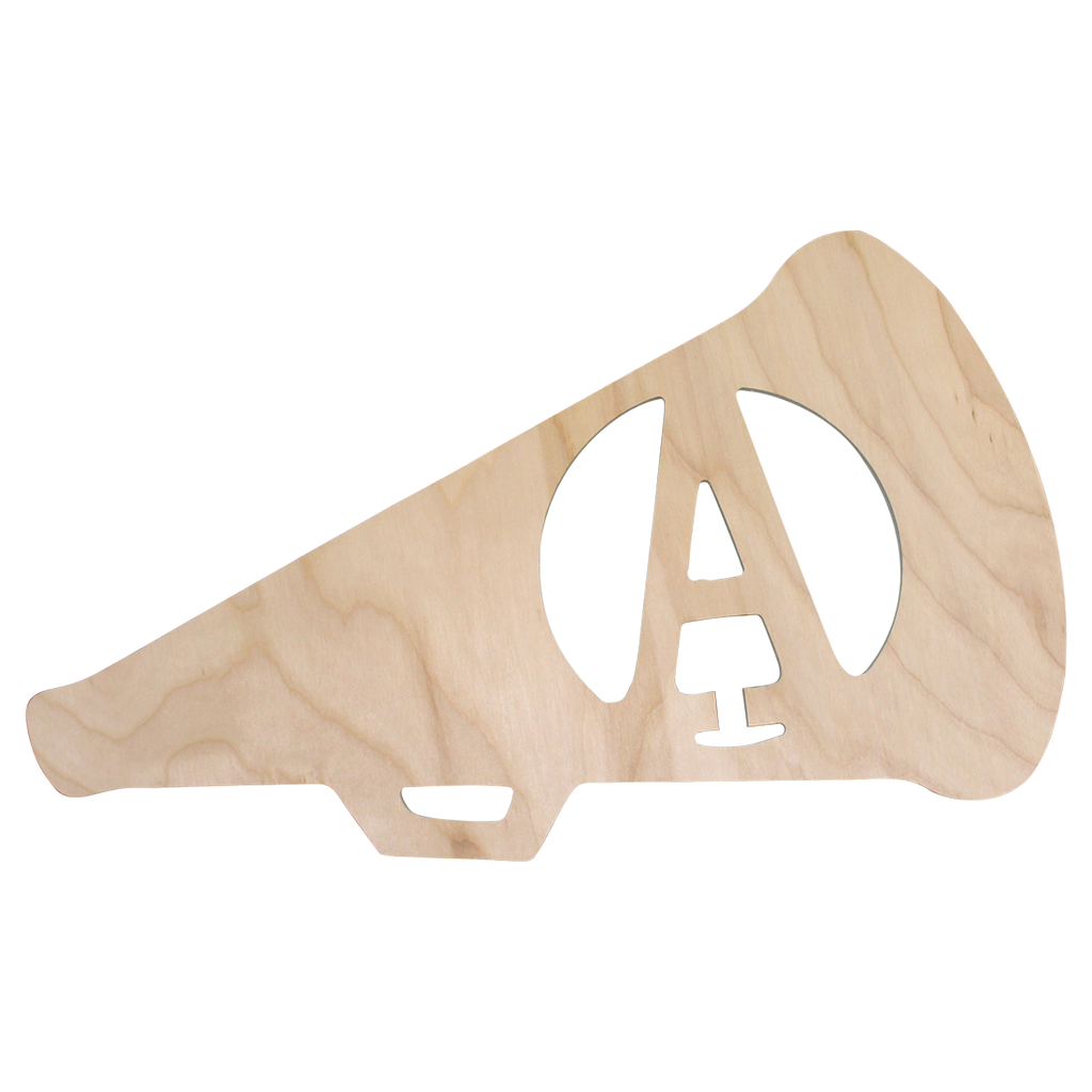 Pesonalized Cheer Megaphone Wood Monogram
