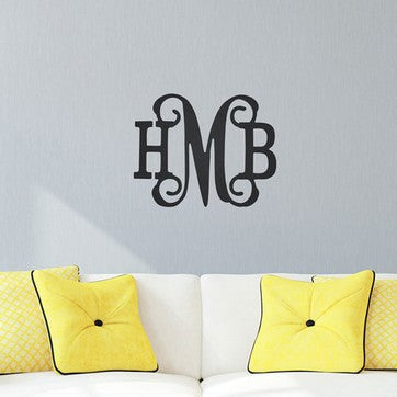 "Personalized 14"" Three Initials - Classic Vine Wood Monogram"