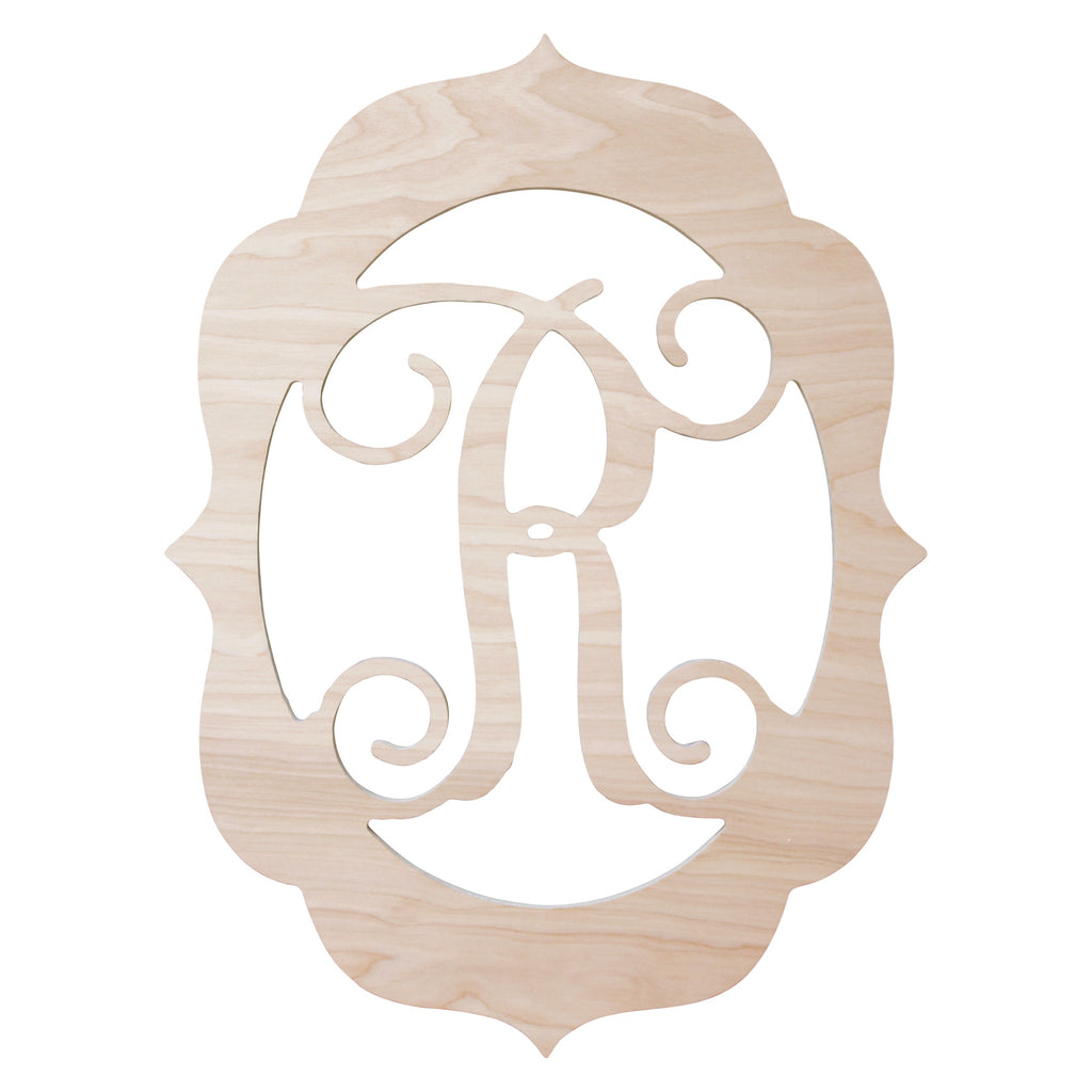"Personalized 18"" Fancy Frame Wood Monogram"