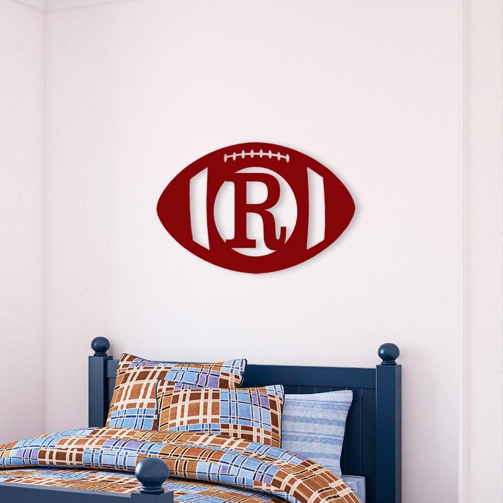 Pesonalized Football Wood Monogram