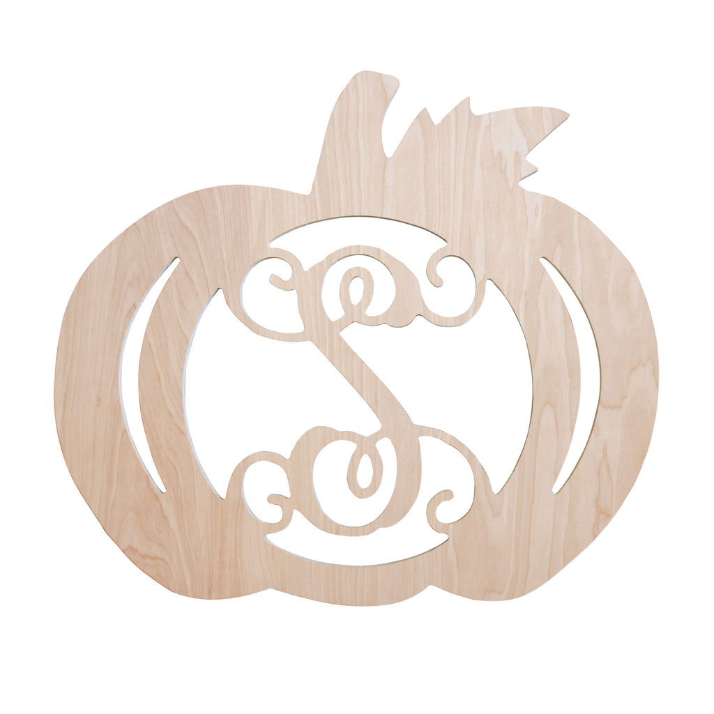"Personalized 18"" Pumpkin Wood Monogram"