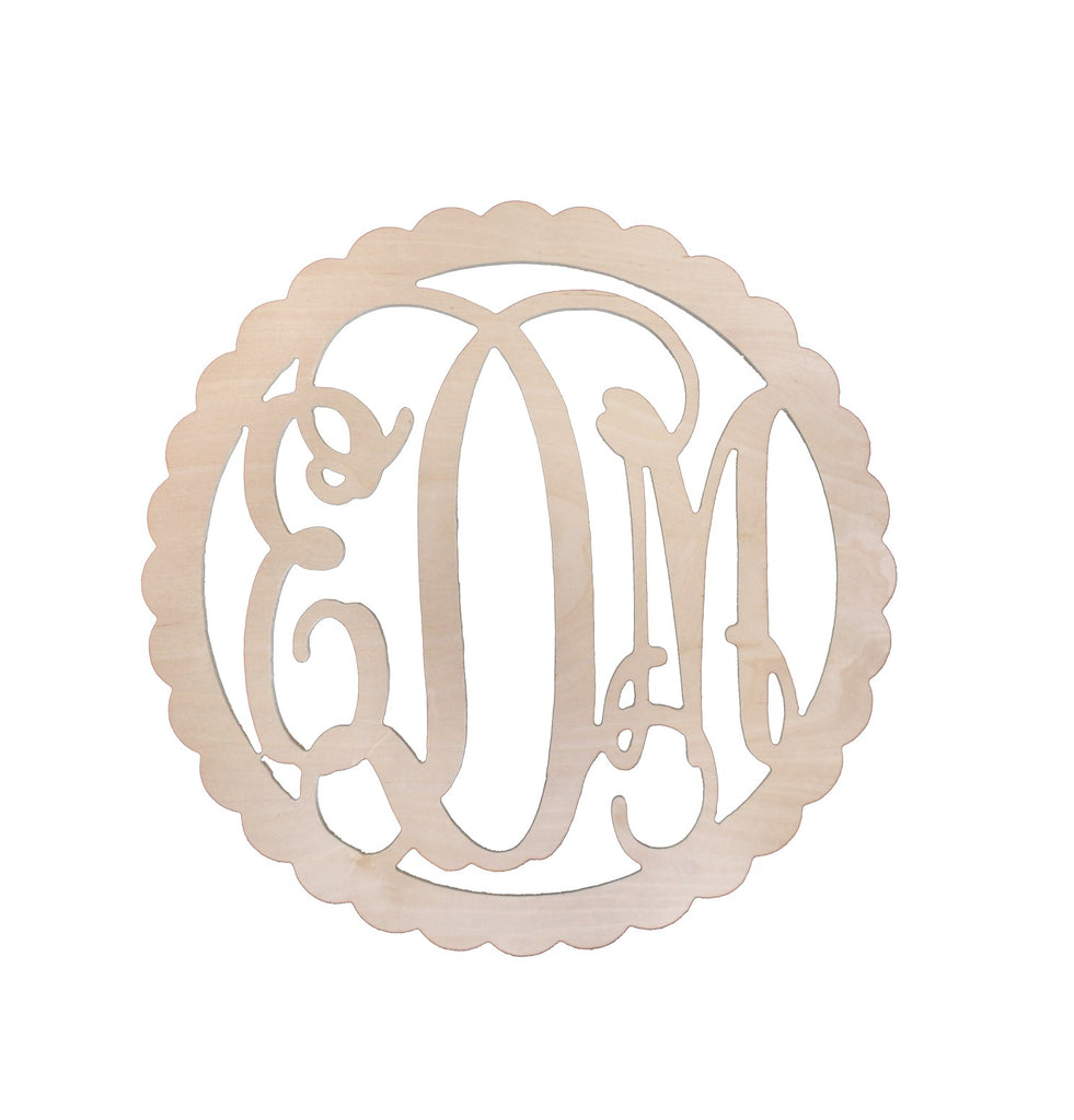 "Personalized 22"" Scallop Wood Monogram"