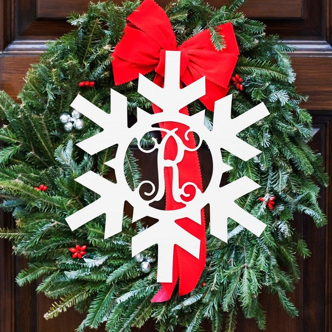 "Personalized 18"" Single Initial Snowflake Wood Monogram"