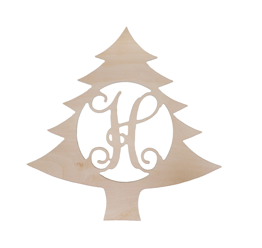 "Personalized 18"" Single Initial Christmas Tree Wood Monogram"