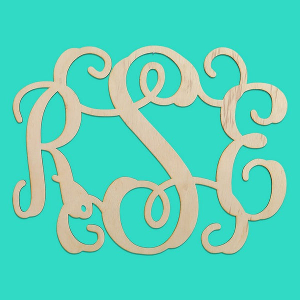 "Personalized 18"" Three Initials Wood Monogram"