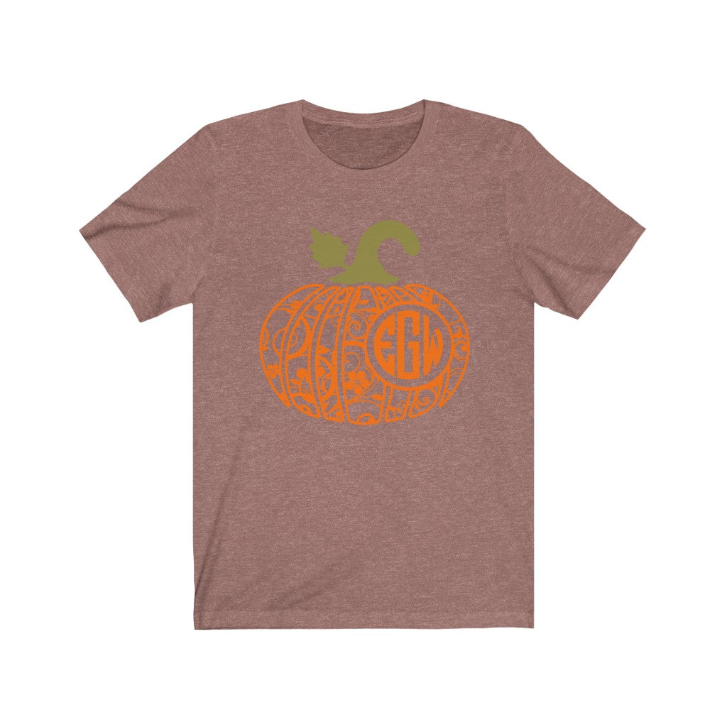 Monogrammed Floral Pumpkin Fall Halloween T-Shirt - Short Sleeve Tee