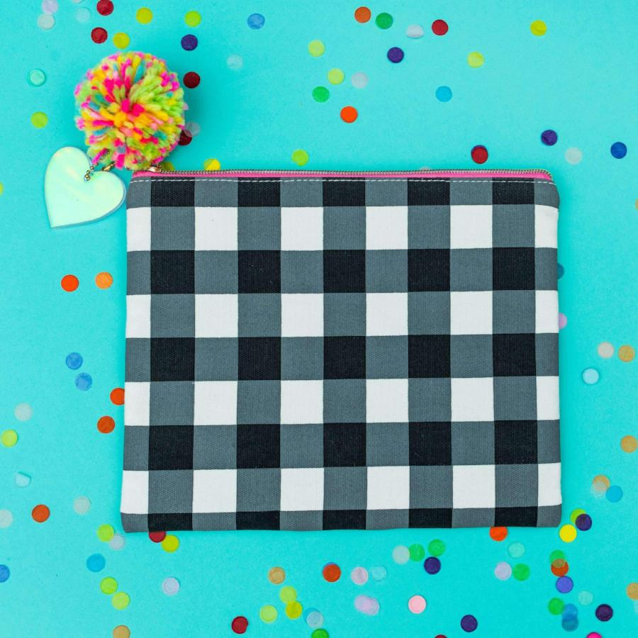 Black Gingham Zip Pouch