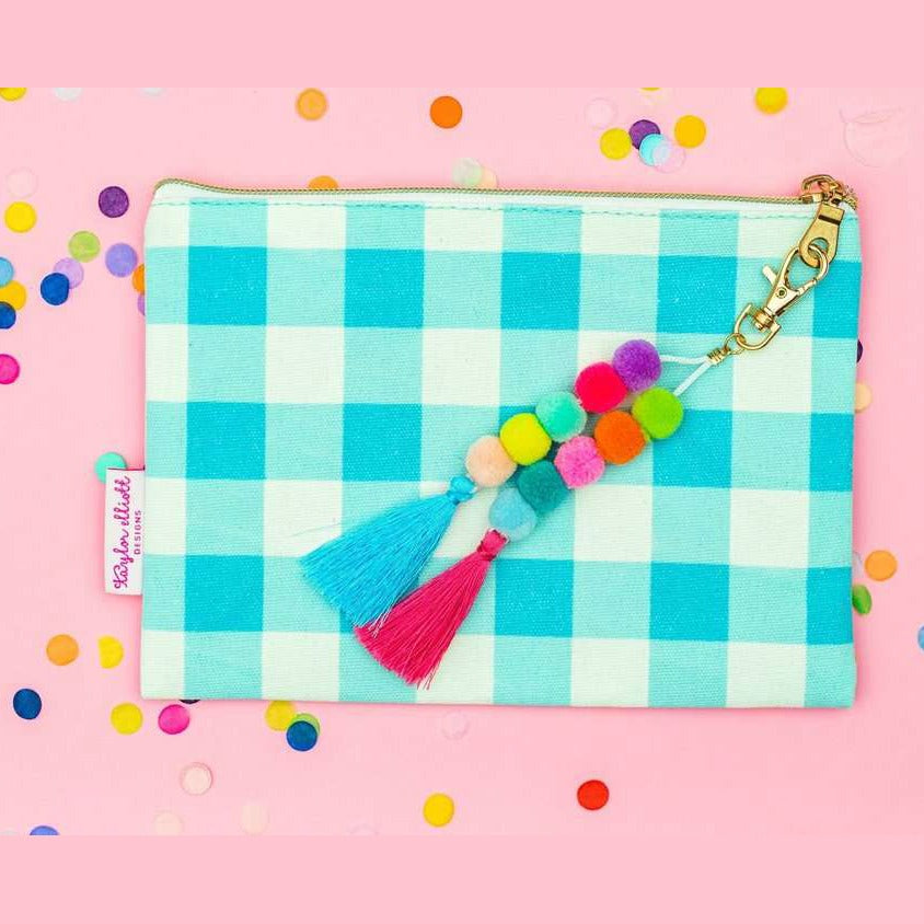 Blue Gingham Zip Pouch with Pom and Tassel Keychain