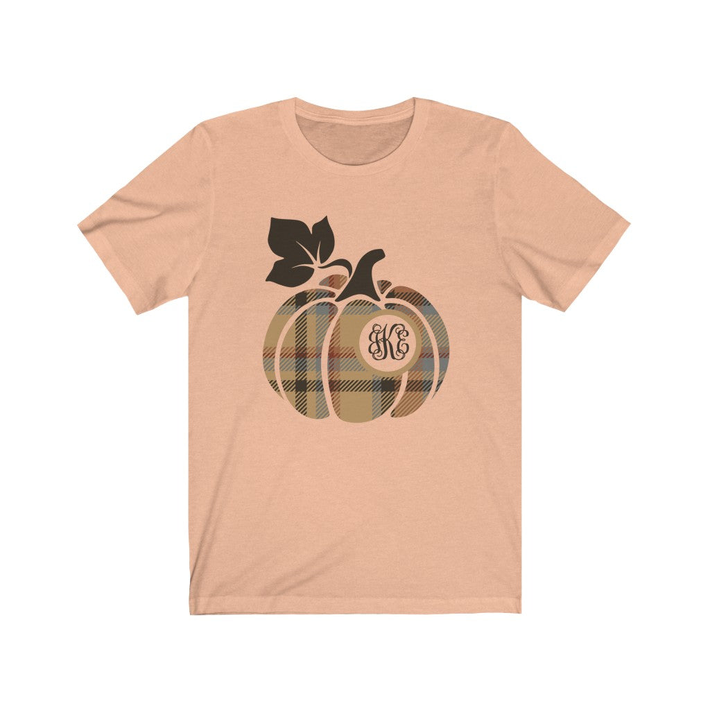 Monogrammed Plaid Pumpkin Tan Fall Halloween T-Shirt - Short Sleeve Tee