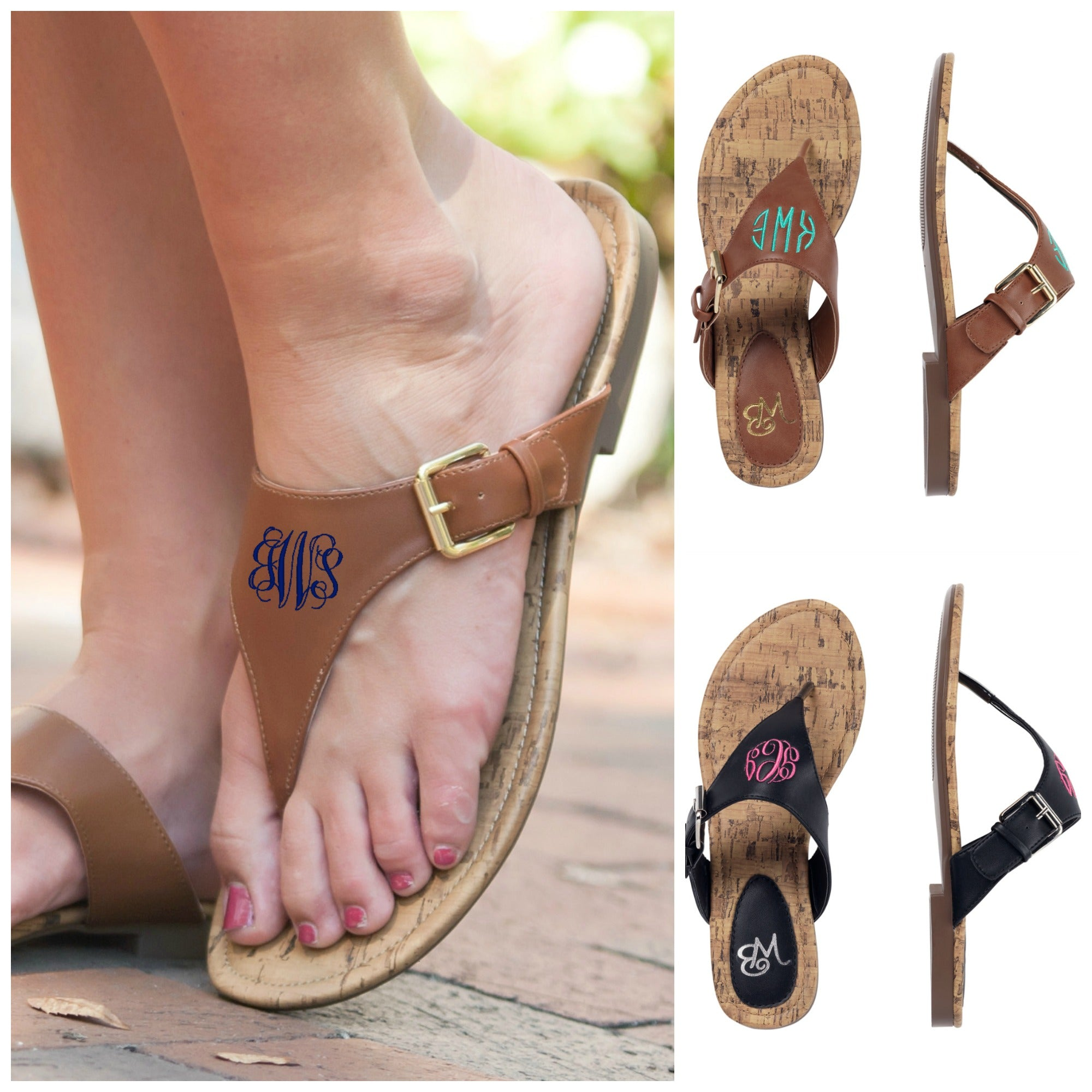 db774822d39ab9 Personalized Monogrammed Sandals – Gifts Happen Here