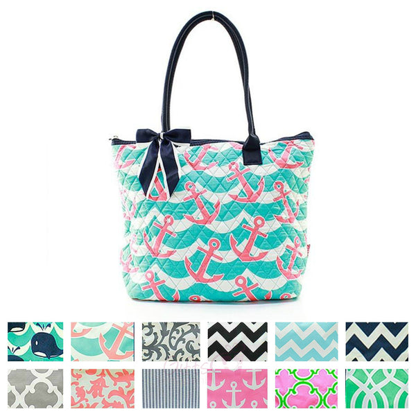 "16"" Quilted Tote Bag Handbag Purse - Gifts Happen Here"