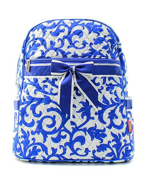 "15"" Quilted Backpack Bookbag Kids School Tote"