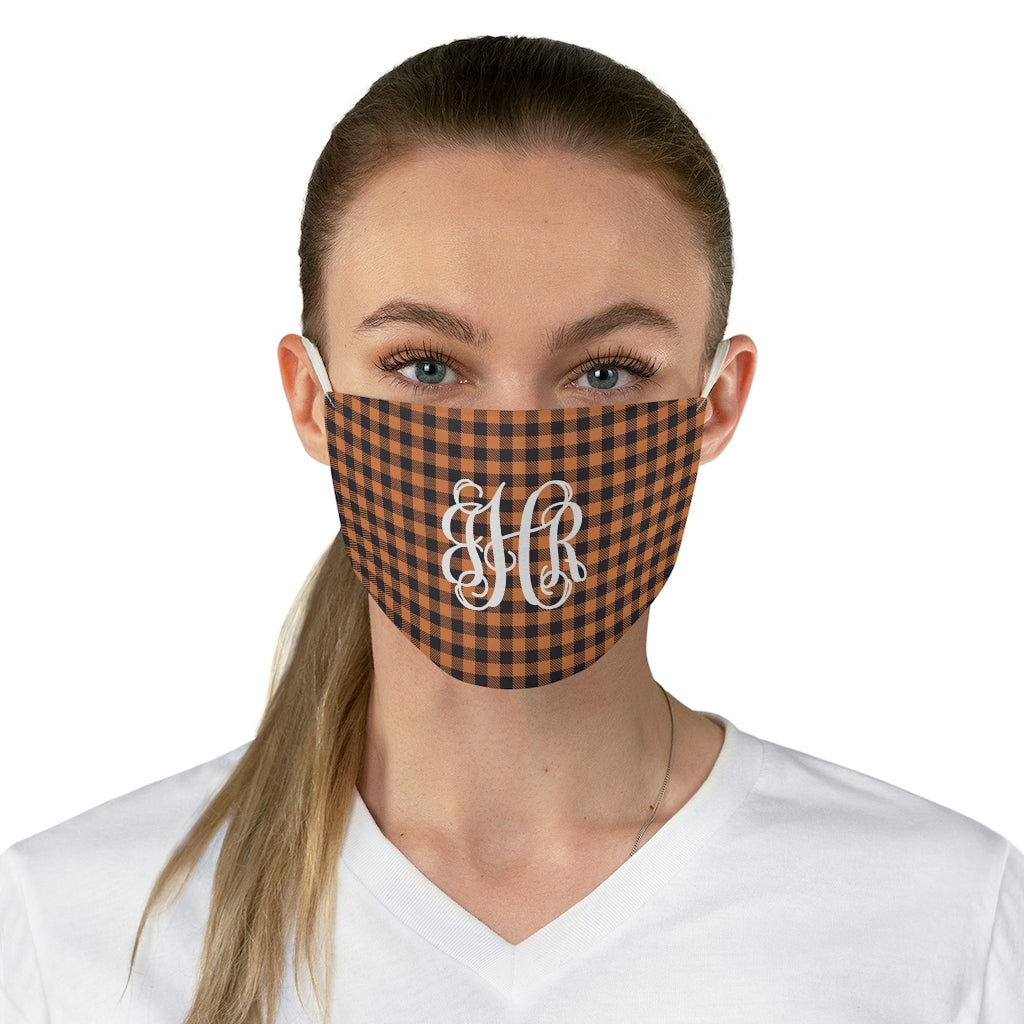 Monogrammed Orange Black Buffalo Check Plaid Fabric Face Mask