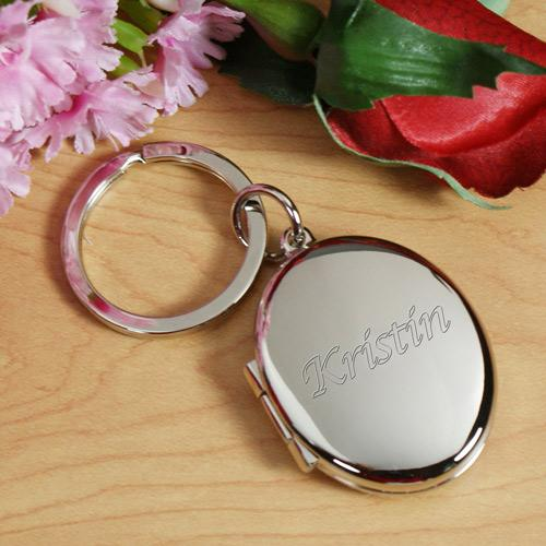 Personalized Initial Or Name Silver Oval Locket Keychain