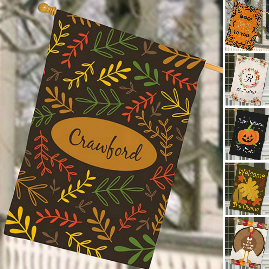 Personalized Halloween & Fall House Flags