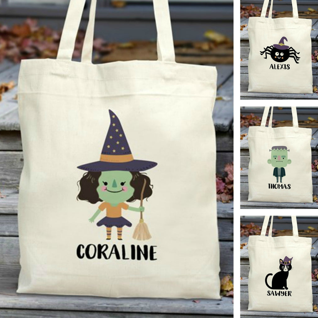 Personalized Halloween Characters Trick Or Treat Tote Bag