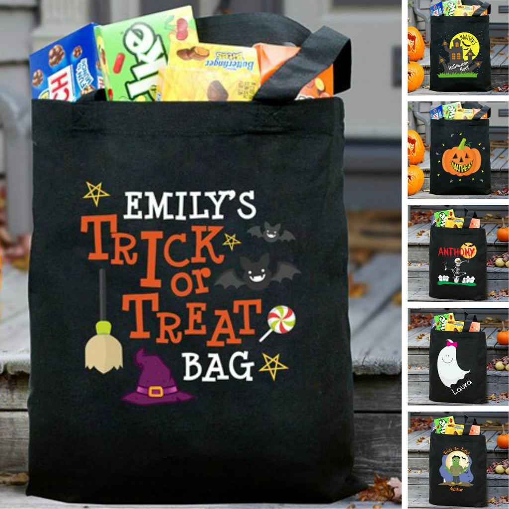 Personalized Halloween Trick Or Treat Tote Bag for Kids - Black