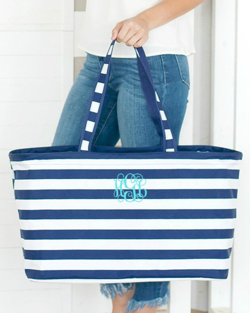 Personalized Large Utility Tote - Beach Bag - Picnic Basket - Navy Stripe