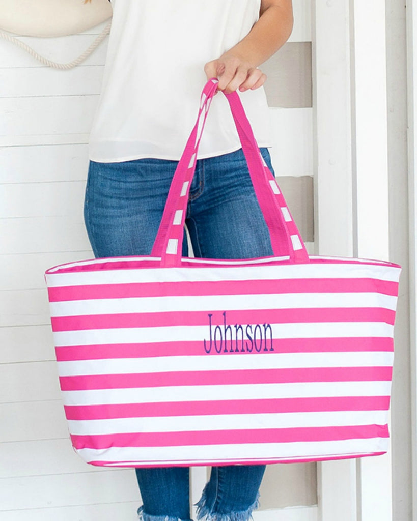 Personalized Large Utility Tote - Beach Bag - Picnic Basket - Hot Pink Stripe