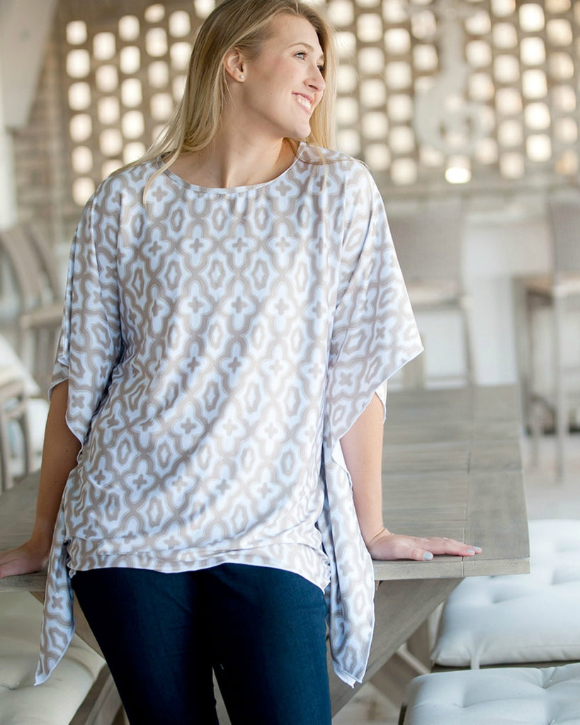 Womens Mosaic Monogrammed Beach Shirt - Natural