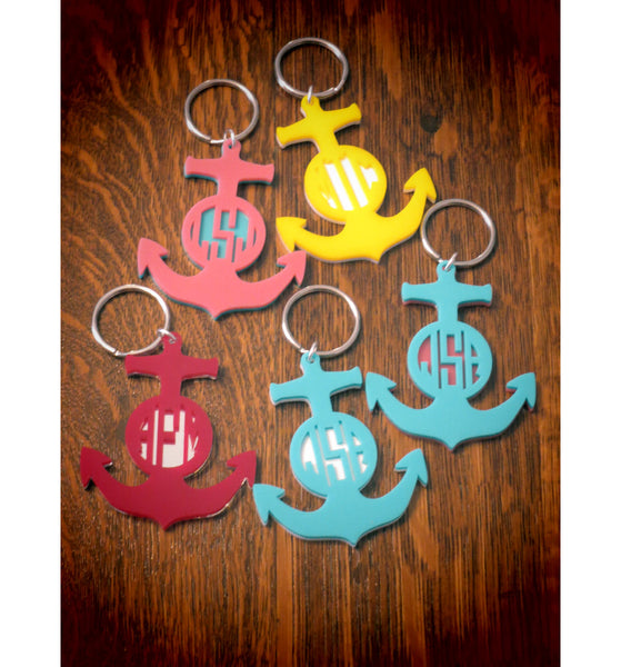 Personalized Layered Anchor Keychain - Gifts Happen Here - 1