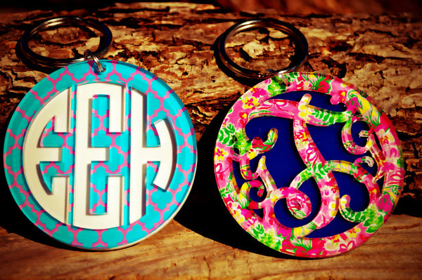 Personalized Layered Monogram Key - Chain - Gifts Happen Here - 1
