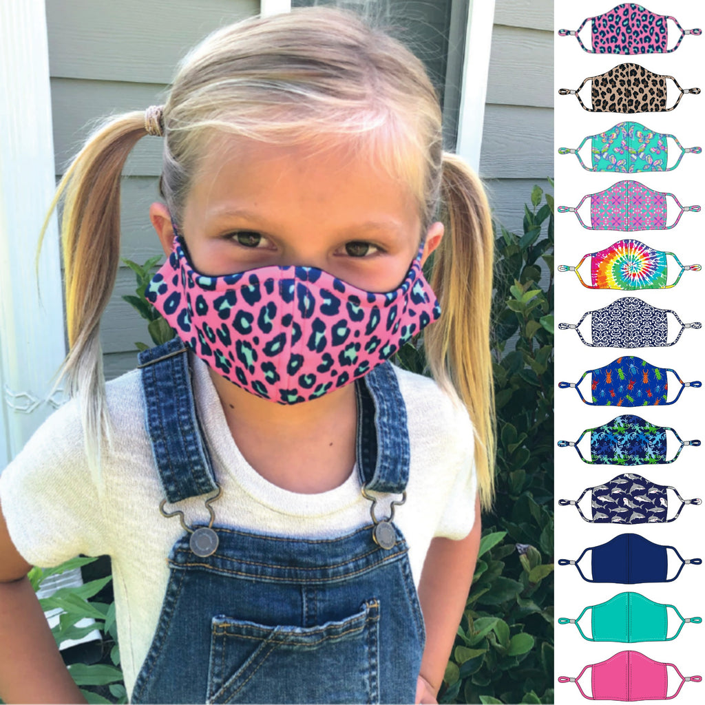 Face Masks for Kids - Adjustable - Patterned Fabric