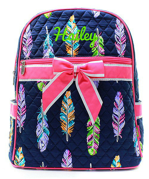 "Personalized 15"" Quilted Backpack Bookbag Kids School Tote"