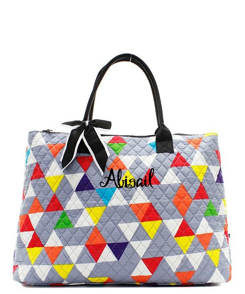 "Personalized Large Quilted Tote Bag 21"" Laptop Travel"