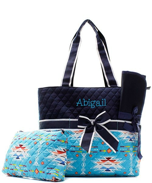 Personalized Diaper Bag Quilted Baby Tote & Changing Pad