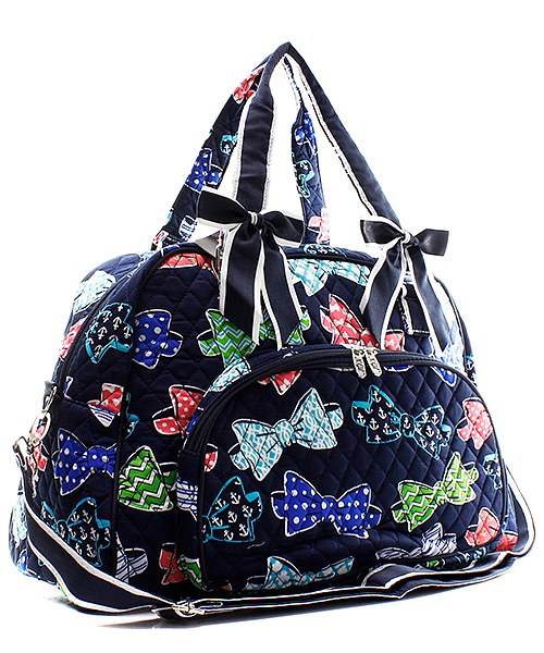 "Personalized 18"" Quilted Duffle Tote Bag Kids Girls"