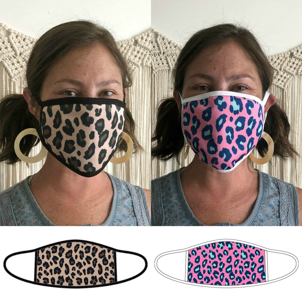 Leopard Print Face Masks - Adult Size - Patterned Fabric
