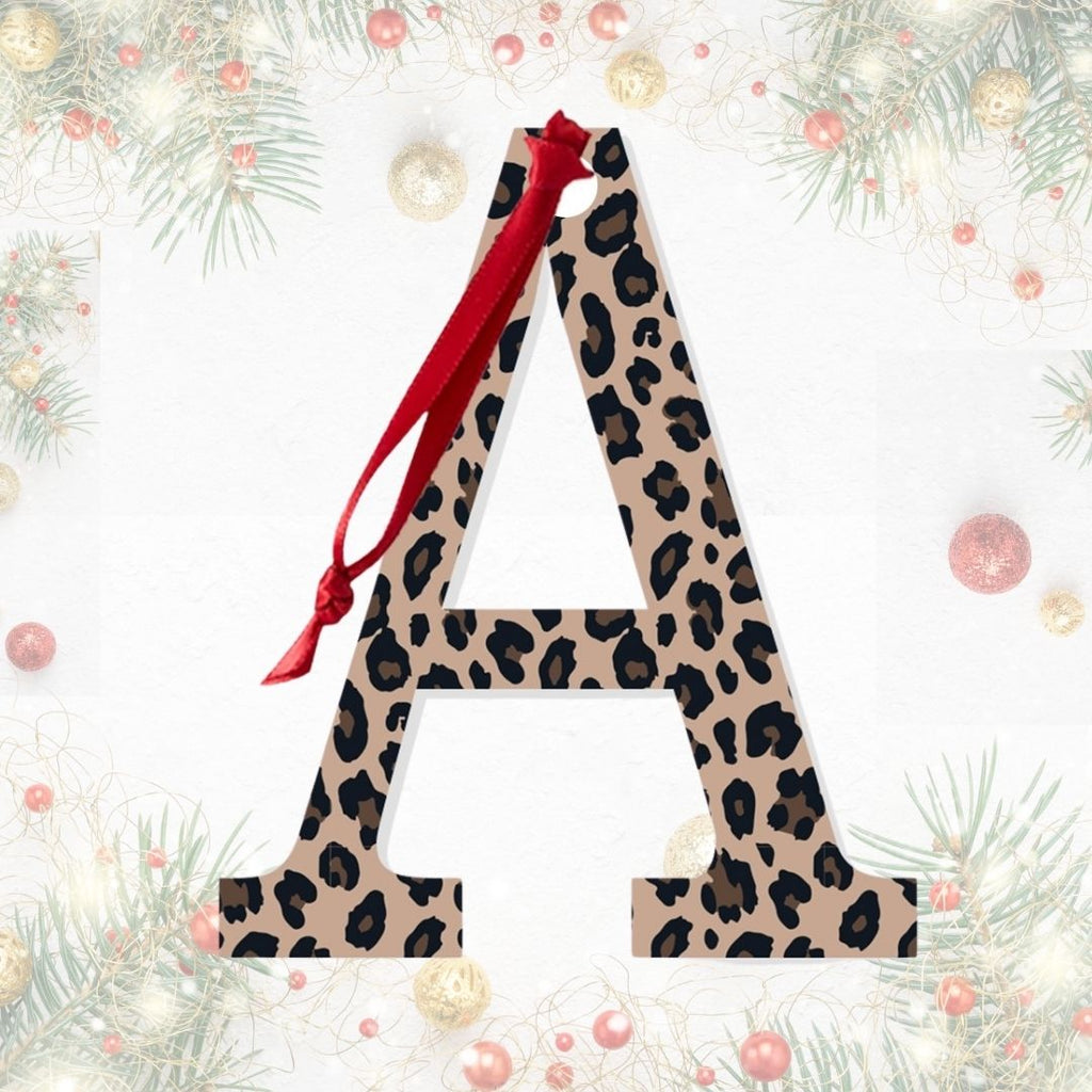 Leopard - Acrylic Initial Monogram Accent Tag - Christmas Ornaments