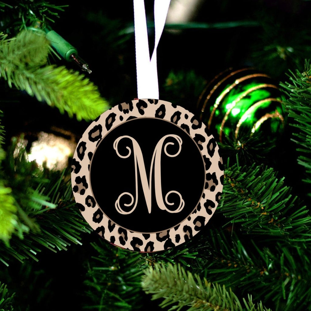 Leopard Print - Personalized Round Christmas Ornaments