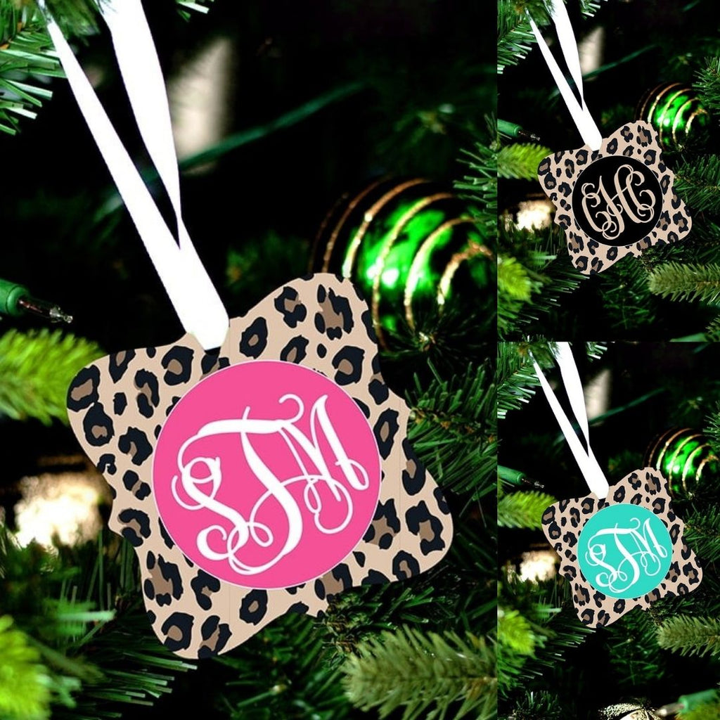 Personalized Leopard Christmas Ornaments