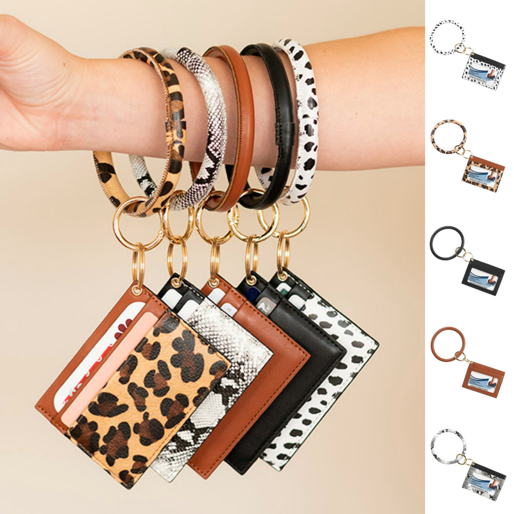 Fashion ID & Card Holder Keychain Bracelet - Animal Prints