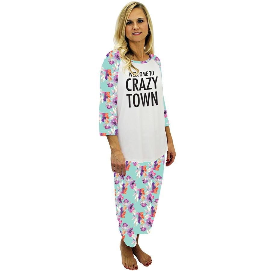Crazy Town Sleep Top & Bottom Floral Aqua