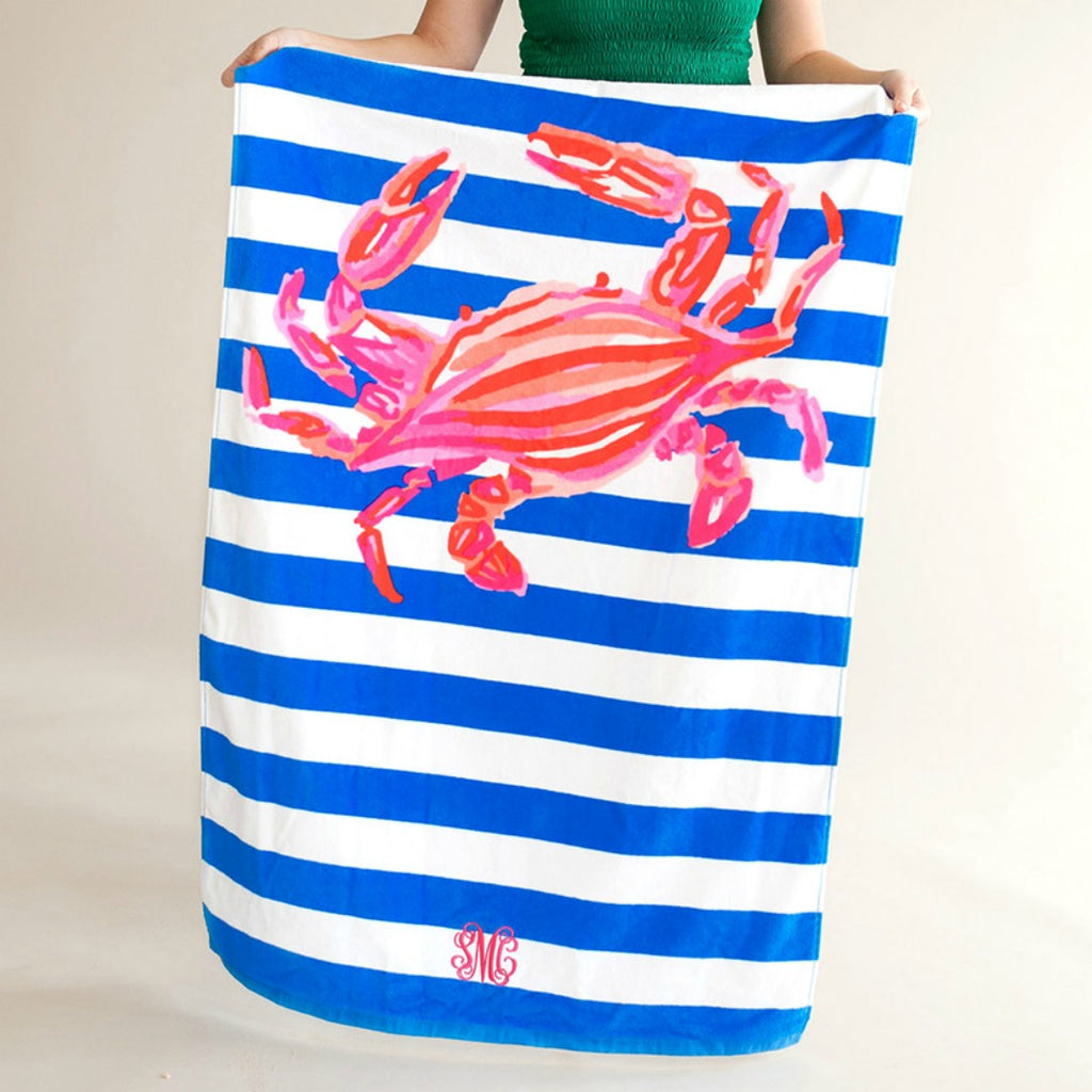 Personalized Beach Towel - Crab Stripe