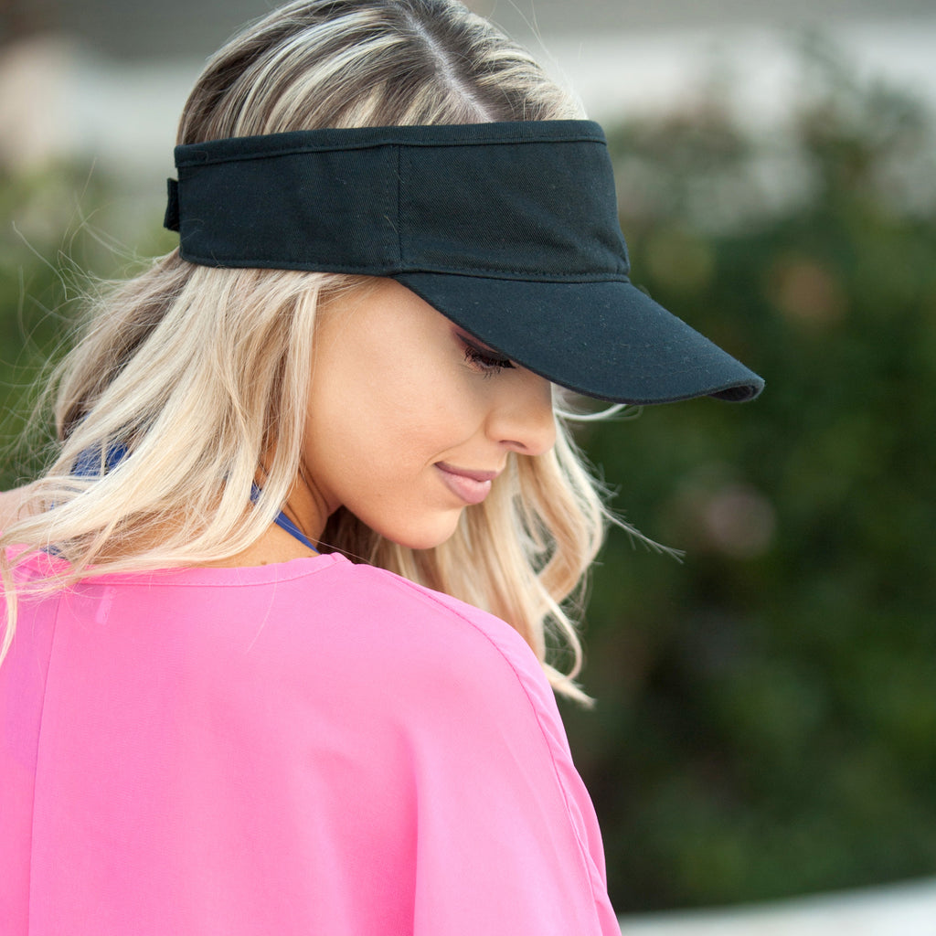 Personalized Womens Visor Cap - Black