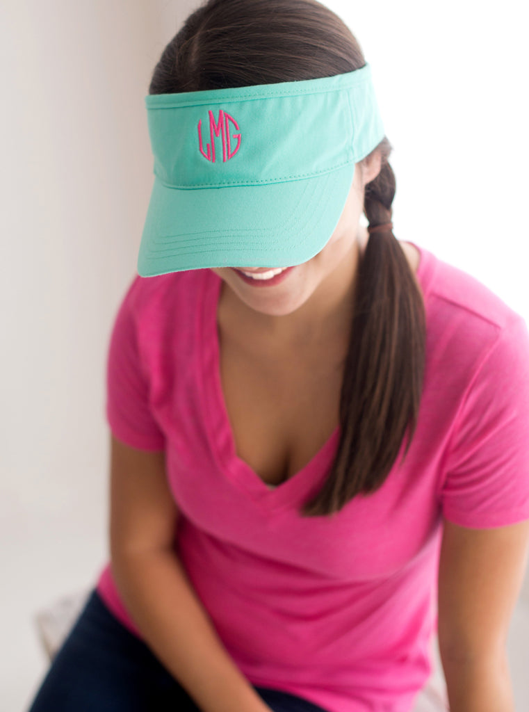 Personalized Womens Visor Cap - Mint Green